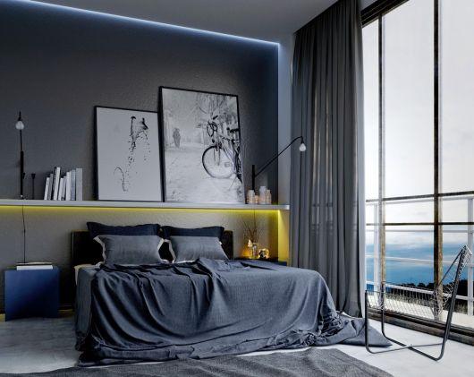 Quadros grandes sobre o móvel acima da cama, uma boa tendência para seu quarto