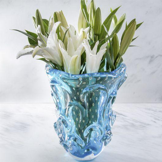 vaso cristal azul