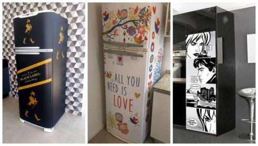 Montagem com exemplos de geladeiras com adesivos.