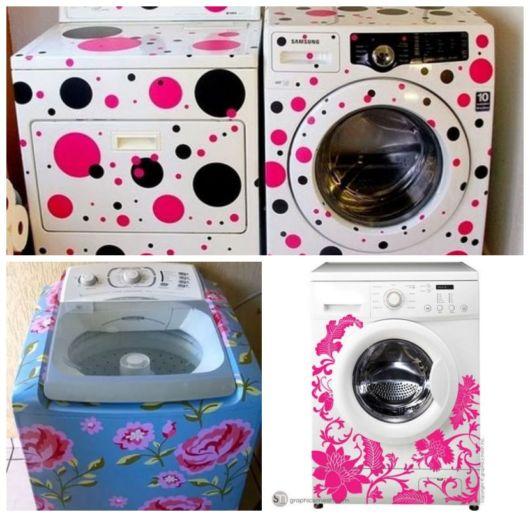 Montagem com três exemplos de lavadora e secadora de roupas com adesivo.