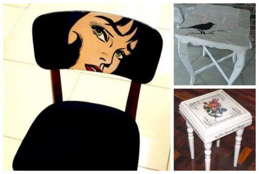 Exemplos de adesivo para móveis em montagem com três fotos.