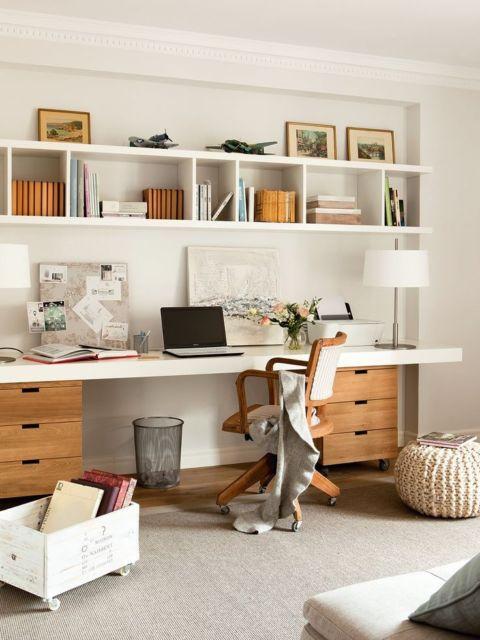escrivaninha fica ainda mais funcional com gaveteiros laterais