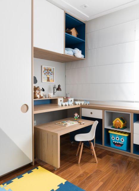 Até o quarto dos pequenos pode ter uma escrivaninha linda assim