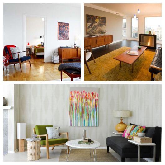 35 projetos incríveis de sala retrô moderna para surpreender você!