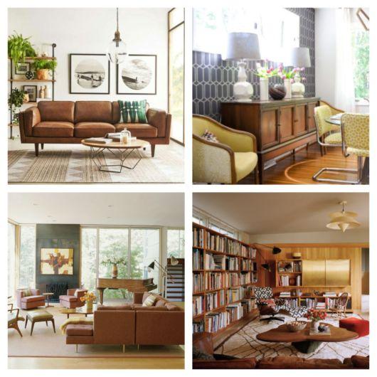 Móveis em cores sóbrias se destacam, como o aparador ou o sofá marrom, por exemplo