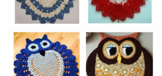 tapete coruja nas cores, azul, marrom, azul claro e vermelho.