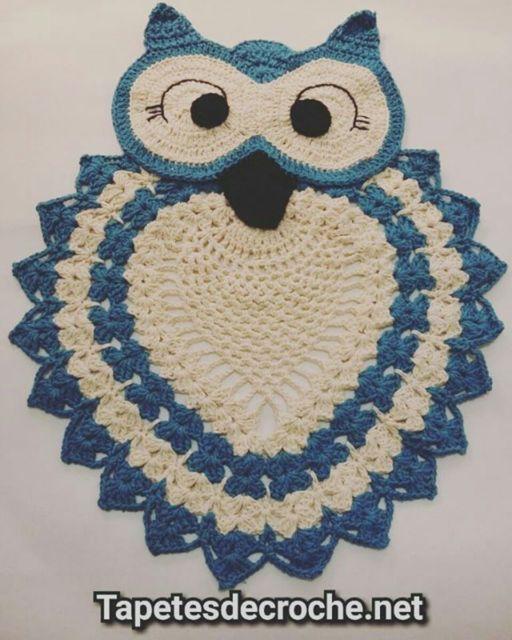 tapete coruja azul claro tamanho mpedio.
