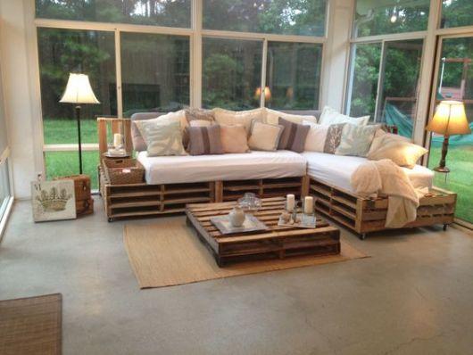 sofá de canto de pallets