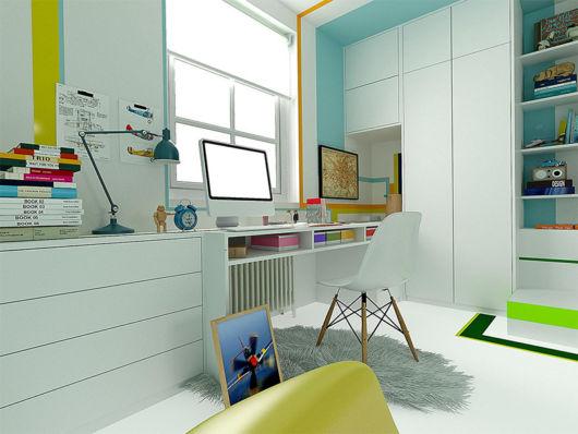 Opte por uma cadeira grande e confortável, principalmente em escrivaninhas maiores