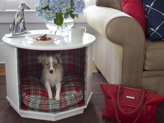 Que tal aproveitar um criado mudo para criar uma casinha de cachorro?