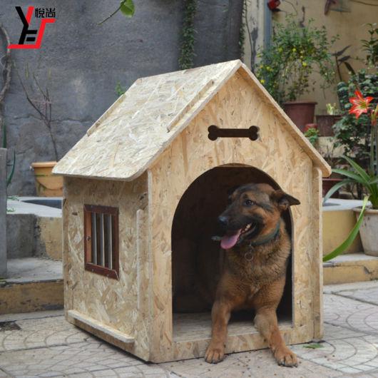 Casinha de cachorro grande de madeira rústica