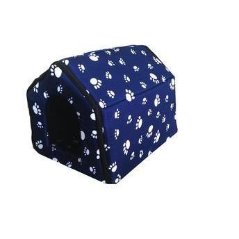 Casinha de cachorro grande estampada em cor azul