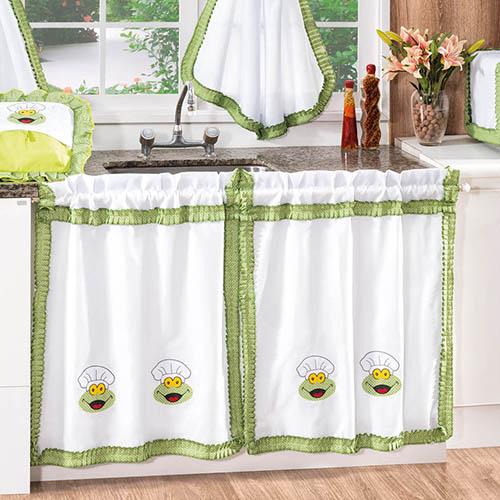 Como fazer cortina: Verde e branca para pia