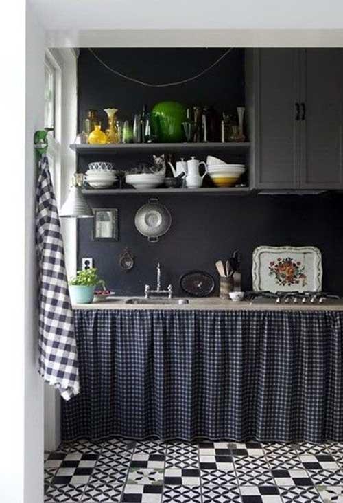 Como fazer cortina: Preta para pia