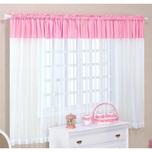 Como fazer cortina: Rosa e branca para quarto
