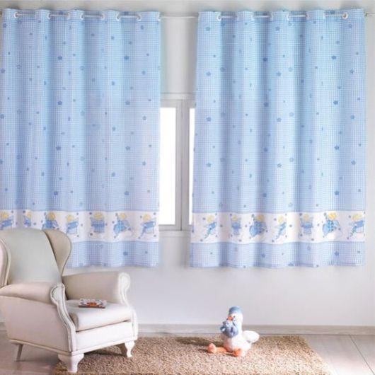 Como fazer cortina: Azul para quarto