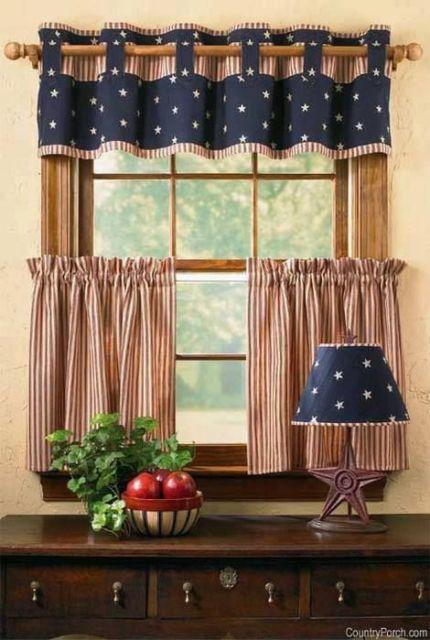 Como fazer cortina: Azul e marrom para cozinha