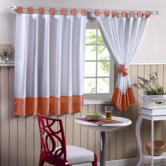 Como fazer cortina: Branca e laranja para cozinha