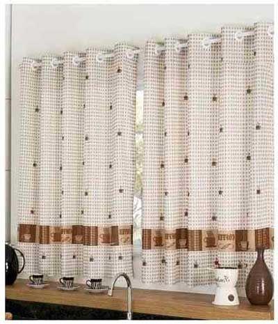 Como fazer cortina:Branca e marrom para cozinha