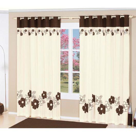 Como fazer cortina: Branca e marrom para sala