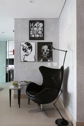 decoração em cinza e preto