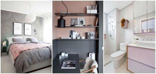 decoração em cinza e rosa