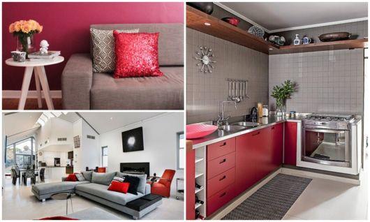 decoração em cinza e vermelho