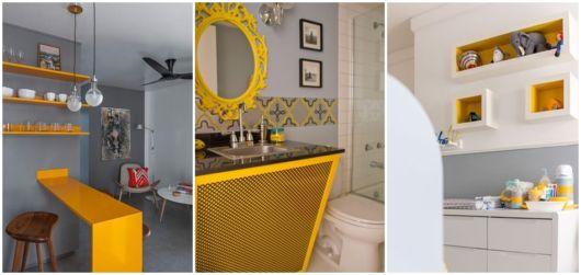 decoração em cinza e amarelo