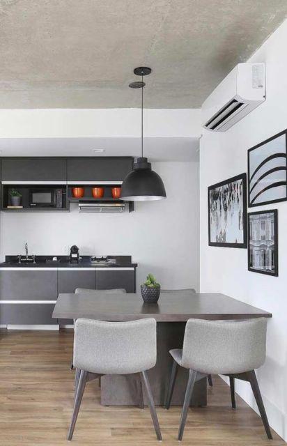 cozinha cinza e branca