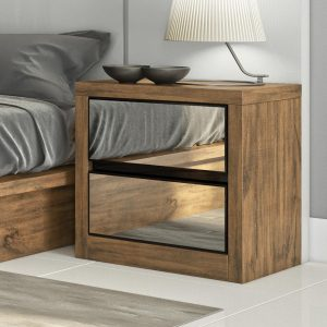 Criado mudo de madeira com gavetas espelhadas