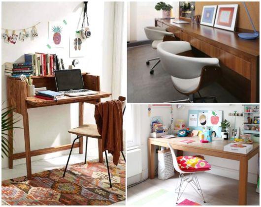 Ideias para compor a decoração com escrivaninhas de madeira