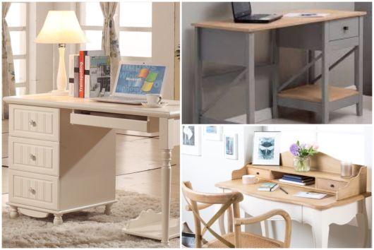 As escrivaninhas de madeira oferecem elegância