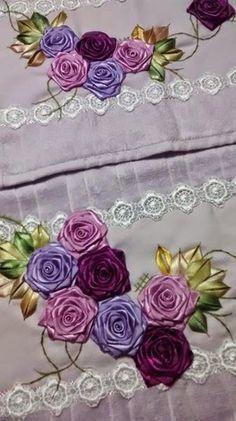 Flor de cetim: Dobrada roxa