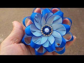 Flor de cetim: Fina azul