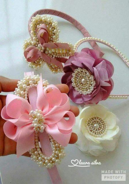 Flor de cetim: Tiara rosa