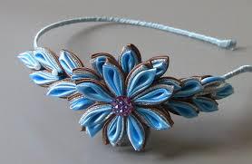 Flor de cetim: Tiara azul