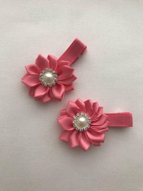 Flor de cetim: Rosa para cabelo
