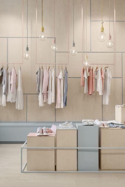 Decoração para loja moderna em cores pasteis