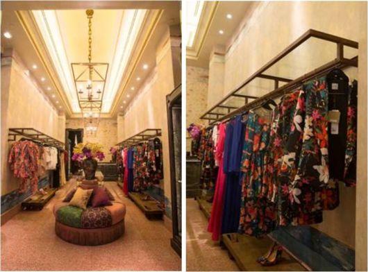 Sugestão de decoração moderna para loja de roupas