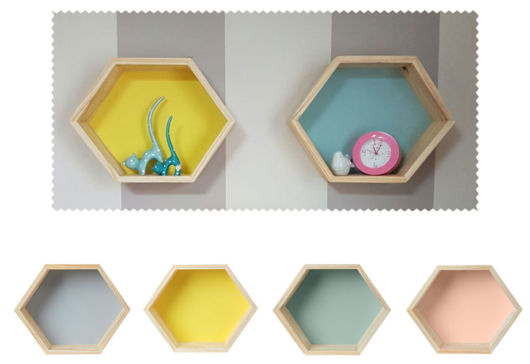 Ideias de nichos delicados, bem como coloridos no estilo colmeia