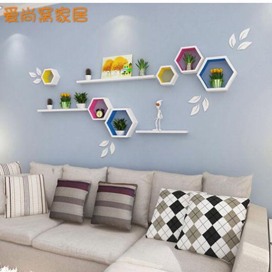 Sala moderna decorada com nichos colmeias