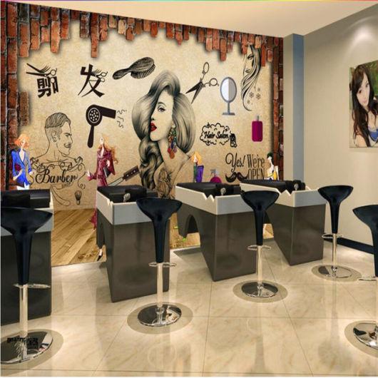Salão de beleza moderno com papel de parede e adesivos