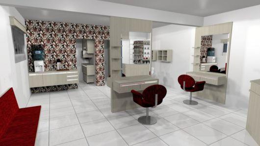 Veja projeto de salão de beleza grande com papel de parede