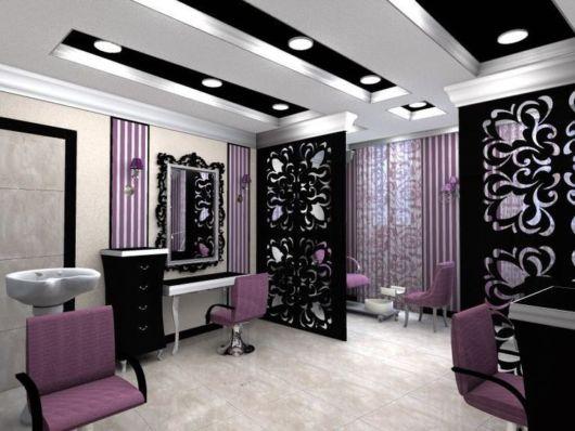 Ideia de decoração lilás para salão de beleza