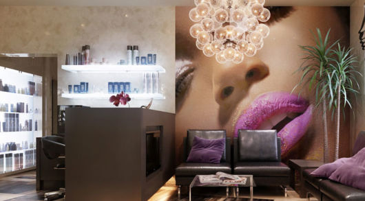 Há papel de parede temático para salão de beleza