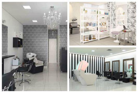 Três ideias de salões de beleza com papel de parede