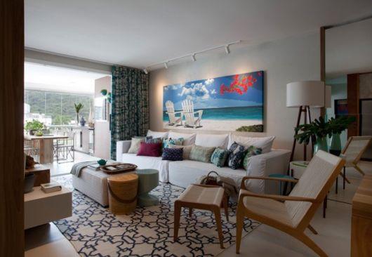 sala apartamento na praia
