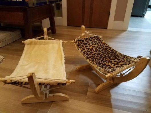 rede para gatos com suporte de madeira