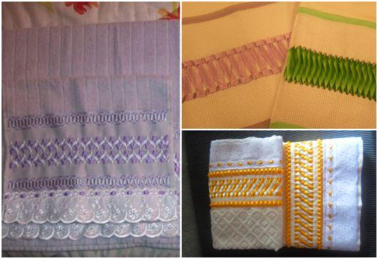 Você pode fazer bordados com fitas em todo tipo de toalha