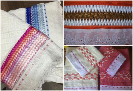 Dicas variadas de toalhas bordadas com fitas